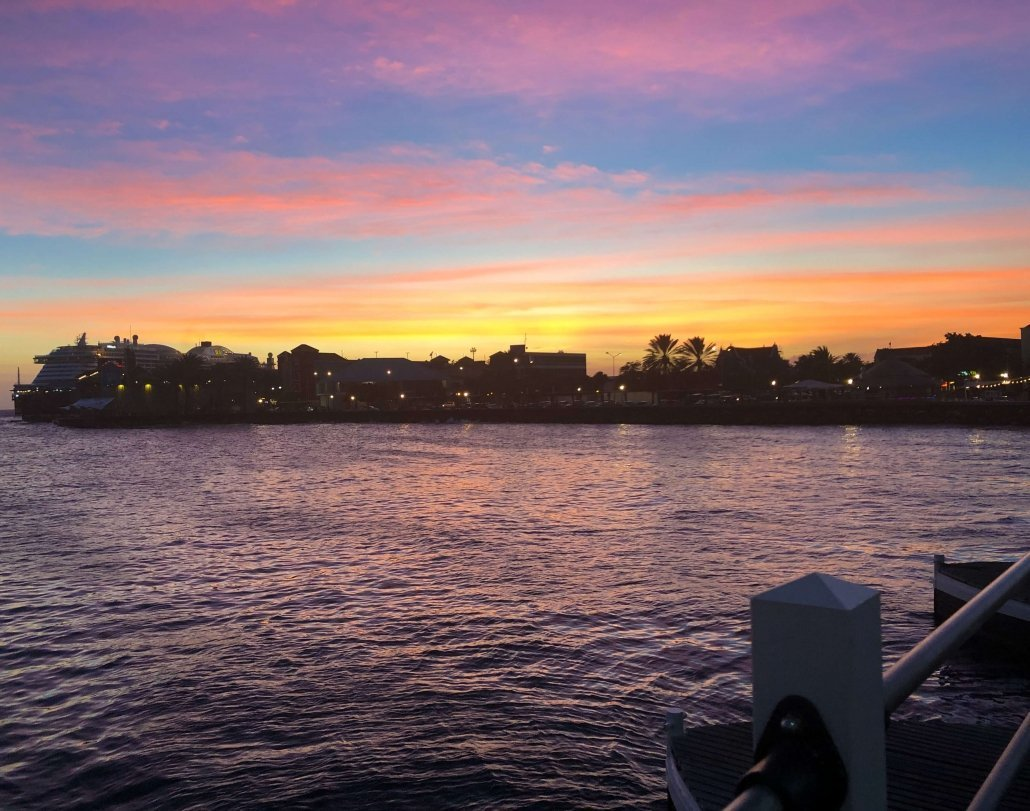 Sunset at Emma Bridge in Curaçao.