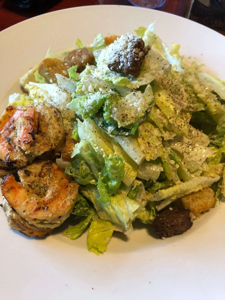 Caesar Salad with prawns at Devil's Slide Taproom in Pacifica, California