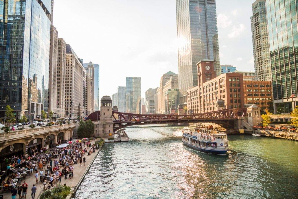 Chicago Riverwalk activities.
